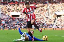 Co asi říká obránce Sunderlandu Anthony Reveillere (v pruhovaném) na mastnou pokutu pro svůj klub?
