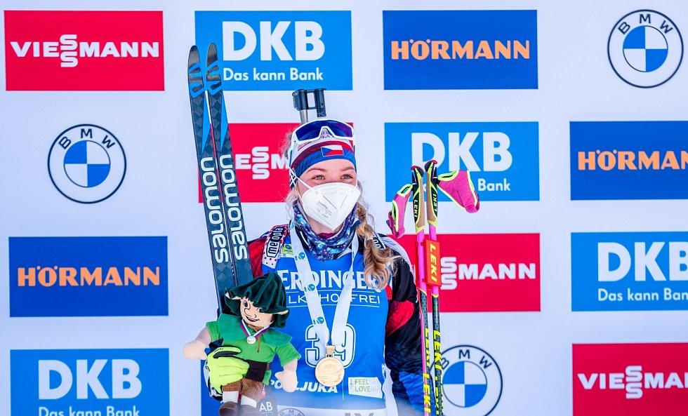 Česká biatlonistka na stupních vítězů