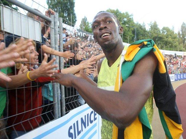 Usain Bolt, světový rekordman z Jamajky, na Zlaté tretře v Ostravě.