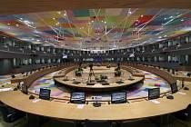 Jednací sál v sídle EU v Bruselu