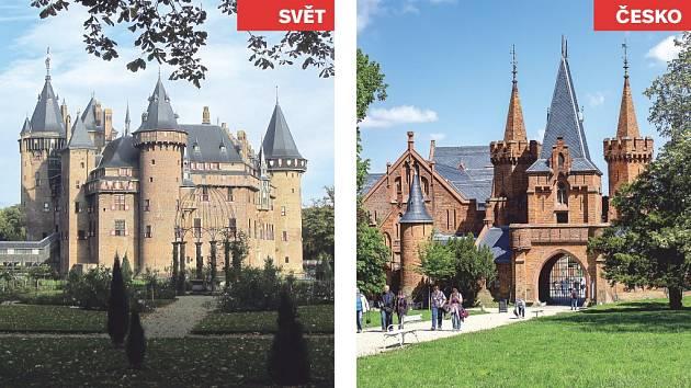 Castle de Haar (Nizozemsko) x zámek Hradec nad Moravicí.