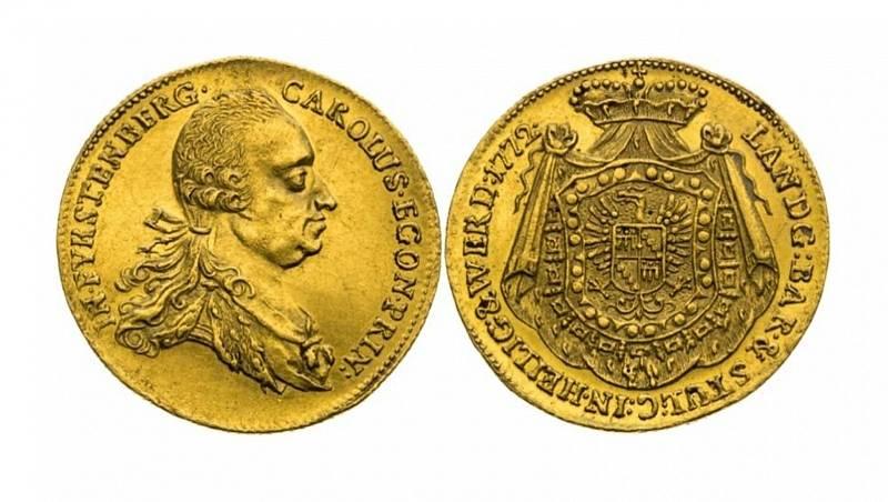 Dukát 1772 Karla Egona z Fürstenbergu bud dražen jako položka číslo 269. Je velice vzácný aje ražen právě zroztaveného keltského poklad. Odhaduje se, že jeho cena by mohla vystoupat až na 600 000 Kč