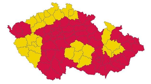 Mapa rizika nákazy vjednotlivých krajích k16. říjnu.