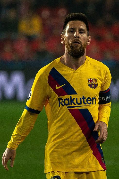 Fotbalový zápas skupiny F (liga mistrů), SK Slavia Praha - FC Barcelona, 23. října 2019 v Praze. Na snímku Lionel Messi.