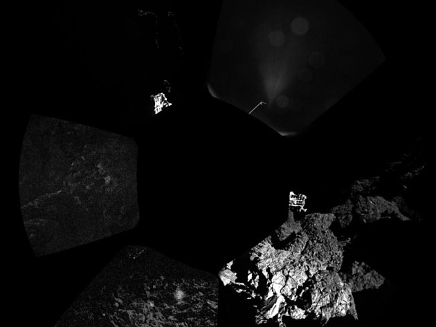 Evropská vesmírná sonda Philae na povrchu komety 67P/Čurjumov-Gerasimenko.