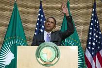 Barack Obama při projevu v sídle Africké unie v etiopské metropoli Addis Abebě.
