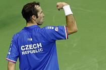 Radek Štěpánek ve finále Davis Cupu.