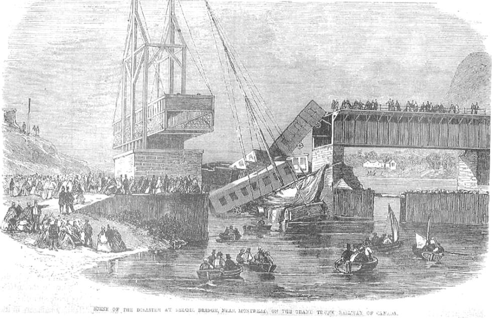 Novinová ilustrace odstraňování následků nehody, publikovaná v The Illustrated London News
