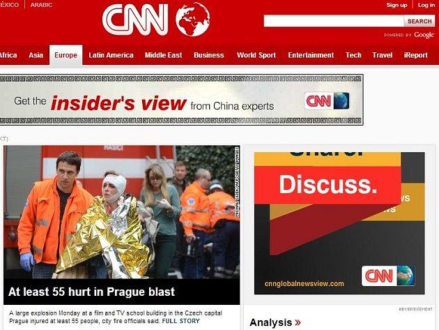 CNN na svém webu informuje o výbuchu v Praze