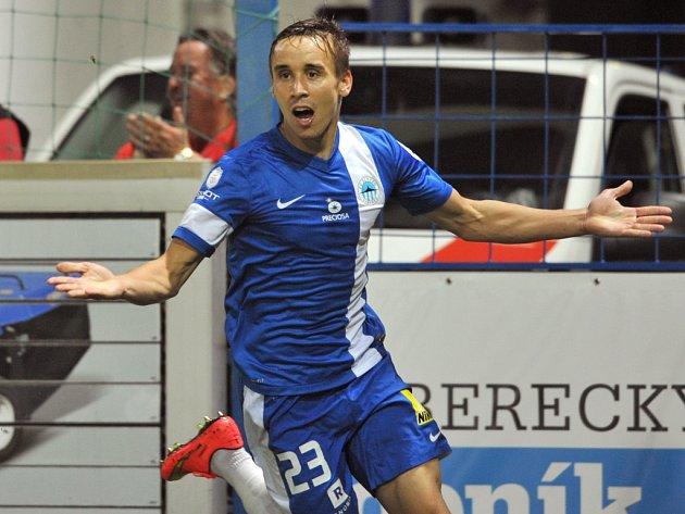 Josef Šural z Liberce se raduje z gólu proti Plzni.