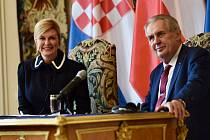 Kolinda Grabarová Kitarovićová a Miloš Zeman