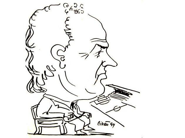 Miroslav Pelta v karikatuře Jana Cikána.