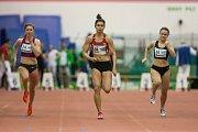 Atletický mítink Jablonecká hala 2018 proběhl 20. ledna v Jablonci nad Nisou. Na snímku druhá zleva Tamiris de Liz při disciplině 60 M ženy.