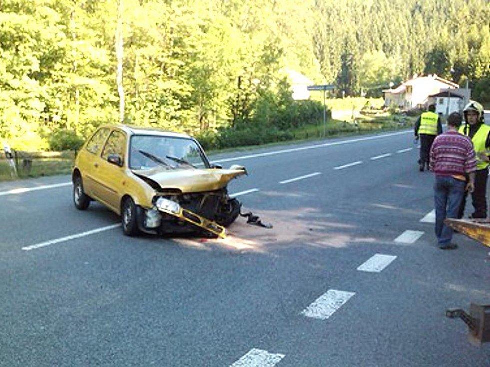 K čelnímu střetu Nissanu Micra a Škody Octavie combi došlo v sobotu krátce před šestnáctou hodinou na silnici mezi Železným Brodem a Loužnicí.