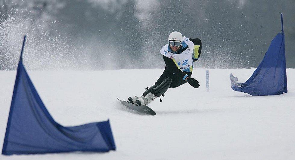 Obří slalom na snowboardu na evropské olympiádě mládeže EYOWF 2011 v Rejdicích.