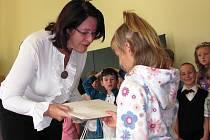 Miroslava Němcová v ZŠ Albrechtice v J. h. na začátku loňského školního roku