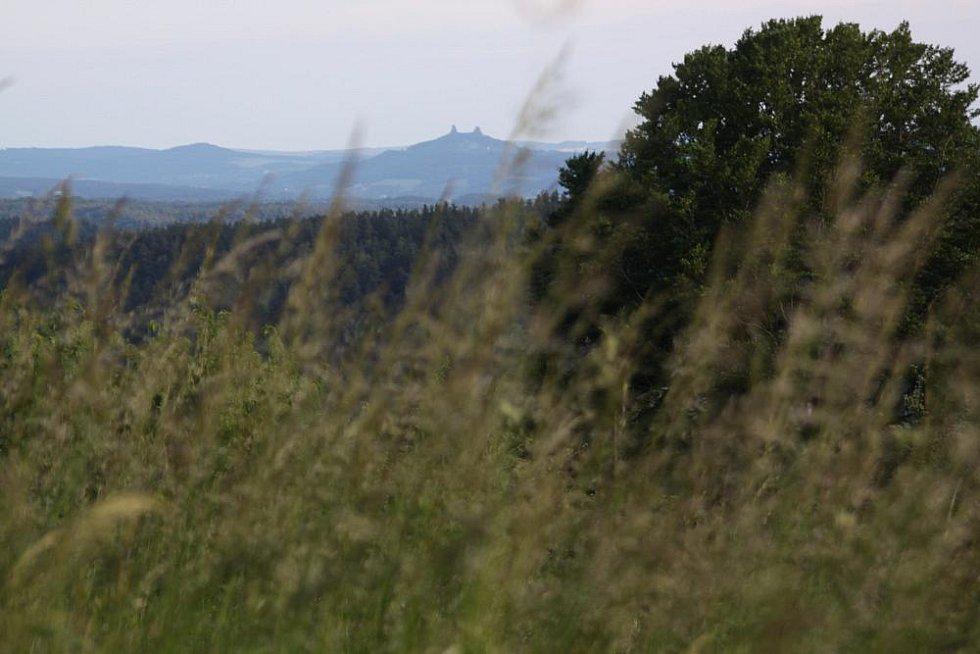 Pohled z motýlí louky na hrad Trosky.