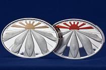 Investiční medaile k 50. výročí japonských rychlovlaků Šinkanzen.