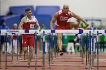 Atletický mítink Jablonecká hala 2018 proběhl 20. ledna v Jablonci nad Nisou. Na snímku zleva Bohdan Chornomaz a Petr Svoboda při disciplině 60 M překážek muži.
