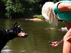 """VŠICHNI PSI VODOMILOVÉ NEJSOU. """"Jeden z mých psů vodu miluje. Kdykoliv narazíme na nějakou vodu, rád si zaplave. Je po operaci zadních nohou a plavání mu dělá dobře. Moje fenka si jen smočí nohy. Se psy chodím tam, kde nejsou lidé,"""" říká Jana Veselá."""