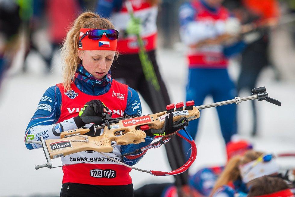 Exhibiční Mistrovství České republiky v biatlonovém supersprintu proběhlo 23. března ve sportovním areálu Břízky v Jablonci nad Nisou. Na snímku je biatlonistka Jessica Jislová.