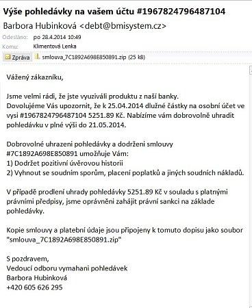 Podvodný email svirovou aplikací vpříloze.