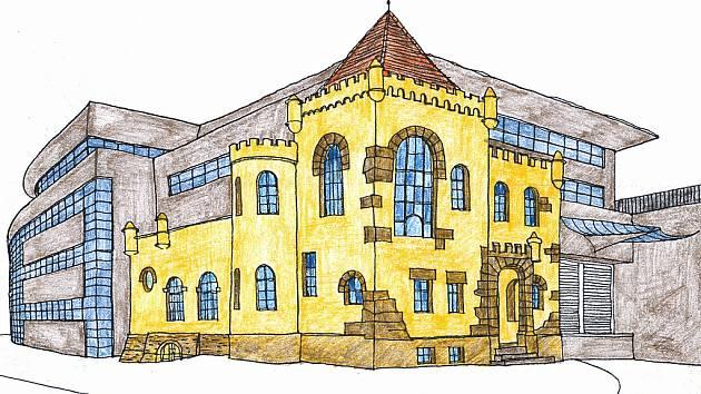 Studie architekta Libora Sommera na začlenění tzv. Zámečku do nově vybudovaného komplexu obchodního, výrobního a administrativního centra.