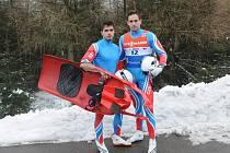 Čeští sáňkaři Antonín a Lukáš Brožové na Světovém poháru v Altenbergu.