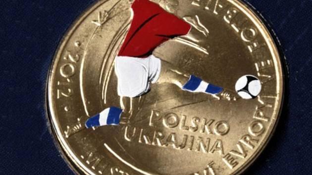 Sada nepoužitých oběžných mincí s kolorovaným žetonem s tématikou EURO 2012.