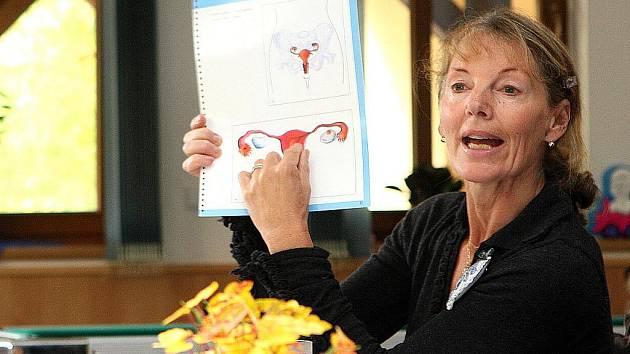 OSVĚTA VE ŠKOLE. Jablonecká gynekoložka MUDr. Alexandra Jörgová přednáší dívkám o ženském pohlavním ústrojí, prevenci početí a pohlavních chorobách.