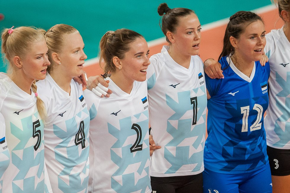 Kvalifikační utkání o postup na volejbalové mistrovství Evropy 2019 žen mezi reprezentačním výběrem České republiky a Estonska se odehrálo 22. srpna v Jablonci nad Nisou. Na snímku jsou hráčky Estonska.
