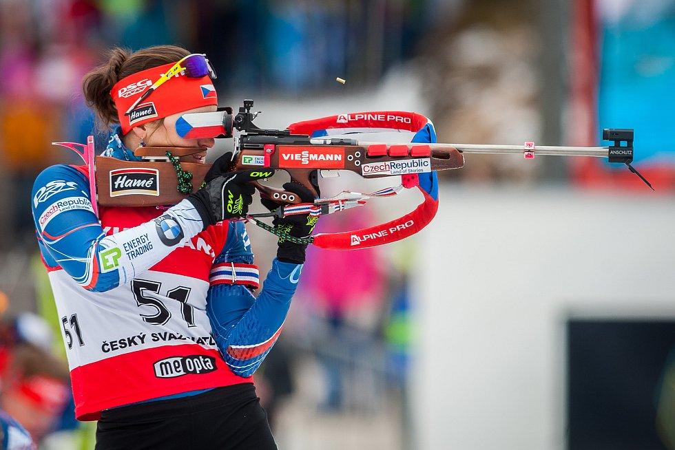 Exhibiční Mistrovství České republiky v biatlonovém supersprintu proběhlo 23. března ve sportovním areálu Břízky v Jablonci nad Nisou. Na snímku je biatlonistka Veronika Vítková.