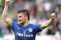 Liberec vyhrál v derby 2:0. Lukáš Vácha z Liberce se raduje z vyhraného zápasu v Jablonci.