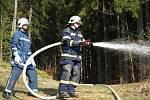 Prověřovací cvičení - požár Myslivecké chaty. Dálková doprava vody. 12. dubna 2009