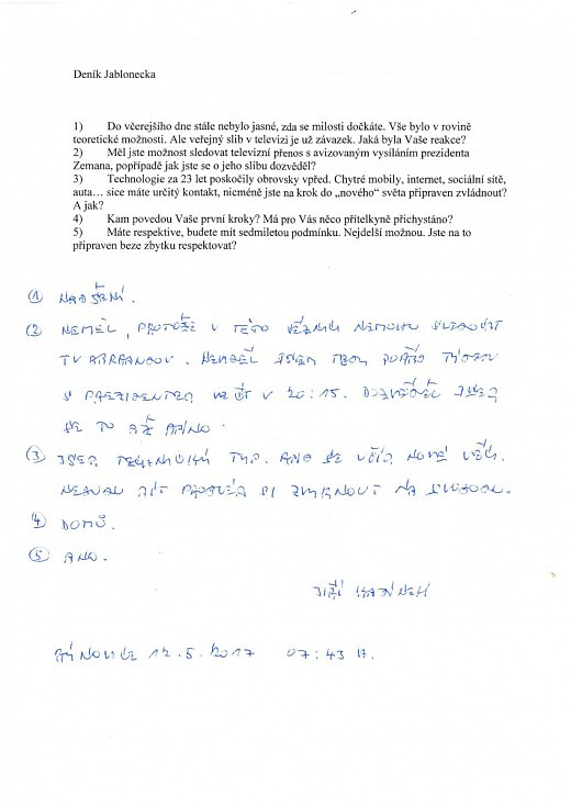 Na otázky redakce odpověděl Jiří Kajínek.
