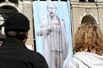 Plachta s vyobrazením ruského prezidenta Vladimíra Putina