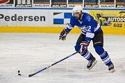 Utkání 8. kola 2. ligy ledního hokeje skupiny Západ se odehrálo 7. října na zimním stadionu v Jablonci nad Nisou. Utkaly se týmy HC Vlci Jablonec nad Nisou a HC Řistuy. Na snímku je Michal Pavlů.