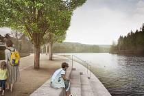 Vizualizace zachycující budoucí podobu okolí kolem liberecké přehrady.