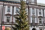 Již ozdobený strom na náměstí 3. května v Železném Brodě.