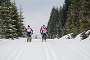 Jizerská 50, závod v klasickém lyžování na 50 kilometrů zařazený do seriálu dálkových běhů Ski Classics, proběhl 18. února 2018 již po jedenapadesáté. Na snímku vlevo je Nadezhda Shuniaeva.