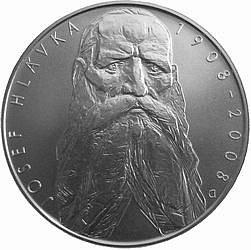 Rub stříbrné pamětní dvousetkoruny ke 100. výročí úmrtí architekta a mecenáše Josefa Hlávky.
