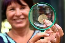 Za 40 korun budou Krajánci v prodeji na výstavě Křehká krása – vybroušená chuť, která začíná v pátek v jabloneckém Eurocentru. Při ražbě je přímo u lisu v České Mincovně představila krajská radní Lidie Vajnerová.