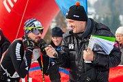 Závod v klasickém lyžování, ČT Jizerská 10, proběhl 17. února v Bedřichově na Jablonecku v rámci série závodů Jizerské padesátky. Hlavní závod na 50 kilometrů zařazený do seriálu dálkových běhů Ski Classics se pojede 18. února 2018. Na snímku vlevo je Jiř