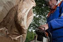 Na zahradě Riedlovy vily vrčí motorové pily FOTO: Petr Červa Desná - V týdnu od 22. do 26. května 2017 se na zahradě Riedelovy vily v Desné odehrává již 16. ročník Sympozia Desná . Dvanáct řezbářů - profesionálů i amatérů - zde pracuje na dřevěných sochác