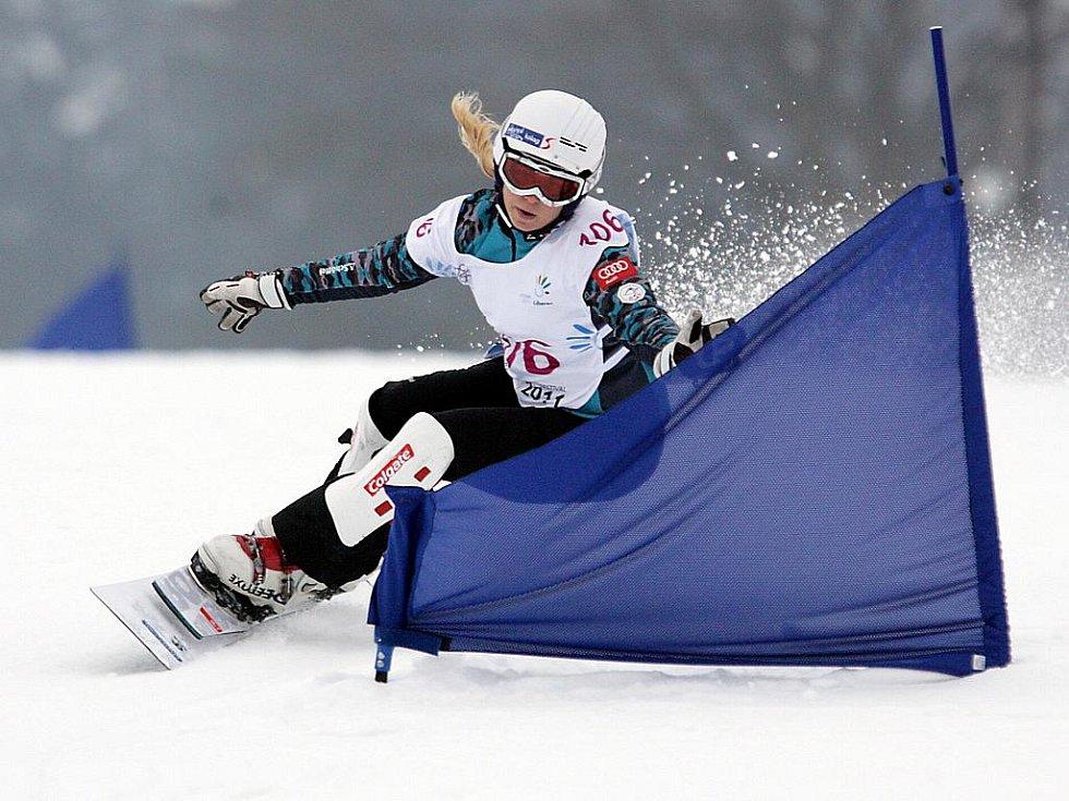 106 BRUGGER Tanja (AUT) – skončila druhá mezi dívkami. Obří slalom na snowboardu na evropské olympiádě mládeže EYOWF 2011 v Rejdicích.