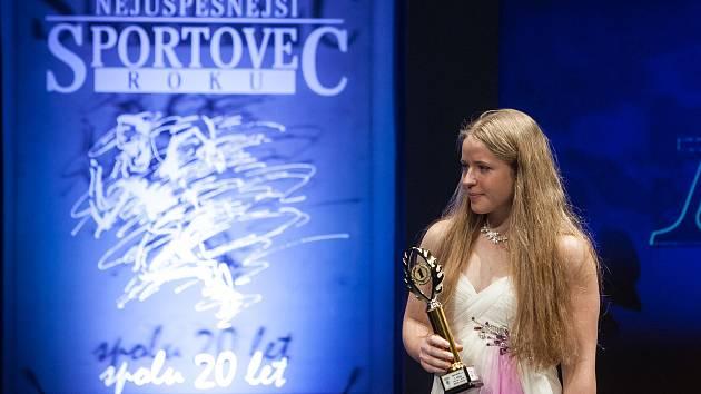 Slavnostní vyhlášení ankety Nejúspěšnější sportovec Jablonecka za rok 2017 proběhlo 29. ledna v Městském divadle v Jablonci nad Nisou. Na snímku je kickboxerka Martina Ptáčková.