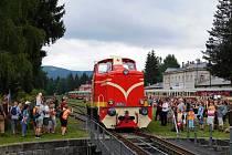 Železniční společnost Tanvald představila při Borůvkové sobotě zrekonstruovanou lokomotivu zvanou Rakušanka.