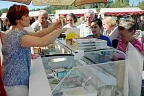 Krajské dožínky 2013 v Brništi. Ivana Jablonovská během dožínek při prodeji své zmrzliny, která se stala výrobkem roku v kategorii Zmrzliny a smetanové krémy.