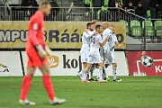 Utkání 14. kola HET ligy mezi MFK Karviná vs. FK Jablonec hrané 19. listopadu 2017 v Karviné. Radost Karviné.