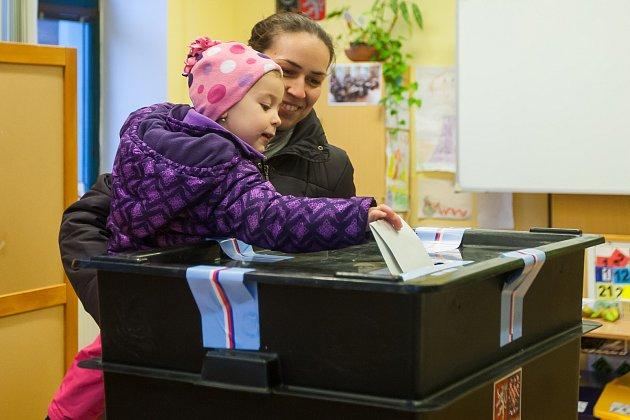 Druhý den prvního kola volby prezidenta České republiky vLiberci vZákladní škole Na Výběžku. Snímek je z13. ledna.